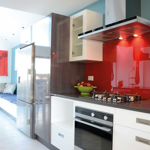 Glass Splashback red in kitchen by Metro Glass