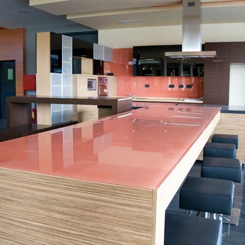 Glass Benchtops pink in kitchen by Metro Glass