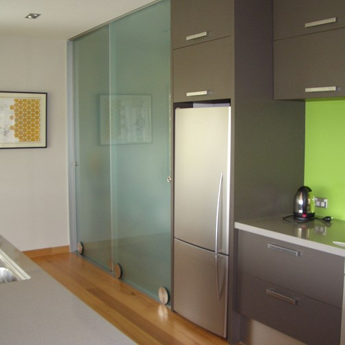 Glass Kitchen Pantry Doors frosted by Metro Glass