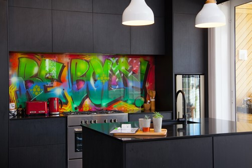 Glass Splashback bebold artwork in kitchen by Metro Glass
