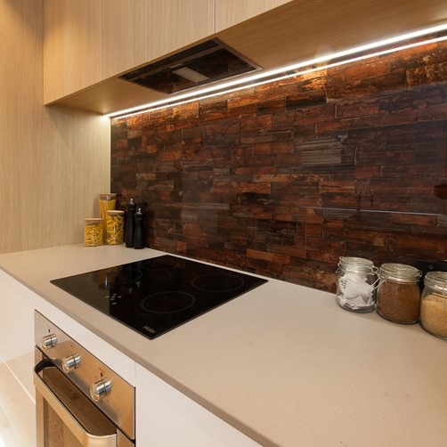 Glass Splashback stonelook in kitchen digitally printed glass splashback  by Metro Glass