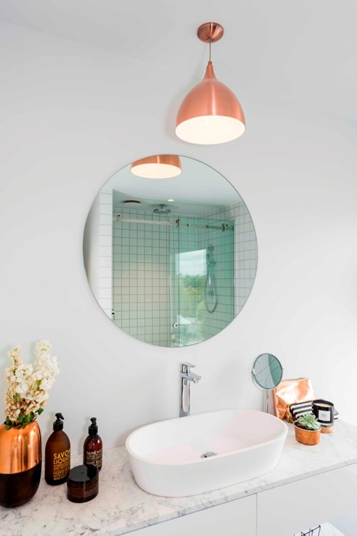 Mirror round 700 in bathroom by Metro Glass