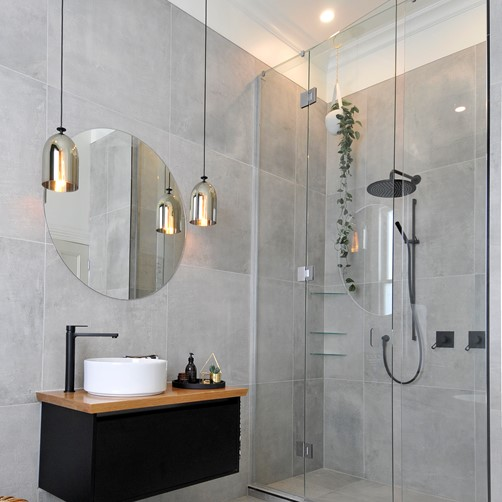 Glass with Door 3m High Inline Shower in bathroom by Metro Glass