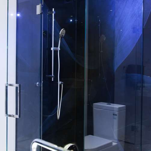 Metro Performance Glass digital print glass lining, corner shower with hinged door, chrome hinges & chrome square D handle 1.jpg