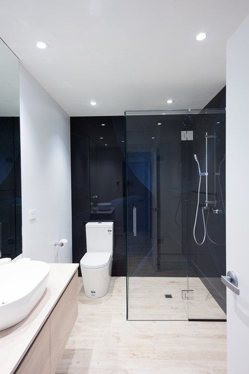 Metro Performance Glass digital print glass lining, corner shower with hinged door, chrome hinges & chrome square D handle.jpg